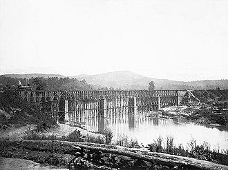 Etowah River - Railroad Bridge across Etowah River, circa 1865