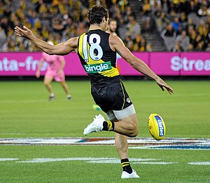 Alex Rance - Rance kicks the football during play in 2017