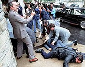 Moments after the attempted assassination of Reagan