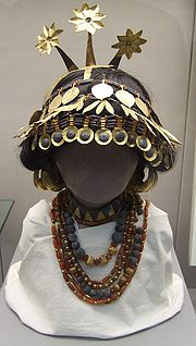 Reconstructed sumerian headgear necklaces british museum