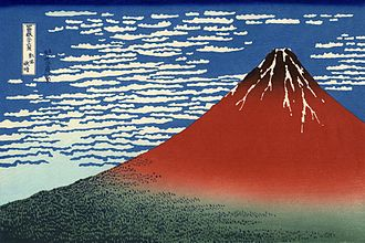 Mount Fuji - South Wind, Clear Sky woodblock print by Hokusai, 19th century