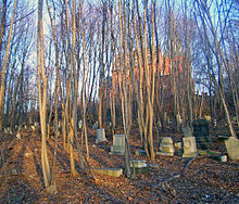 Headstones on a slope in a wooded area. A brick church building is visible at the rear through the trees