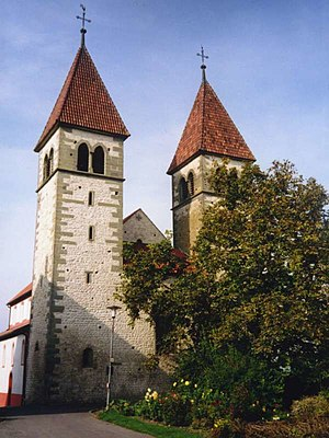 Reichenau Island - 15th-century towers on the Romanesque church of Sts Peter and Paul in Reichenau-Niederzell