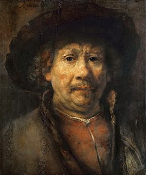 Self-Portrait (Rembrandt, Vienna) - Rembrandt. Self Portrait, c. 1655. Oil on panel, 48.9 x 40.2 cm. Kunsthistorisches Museum.