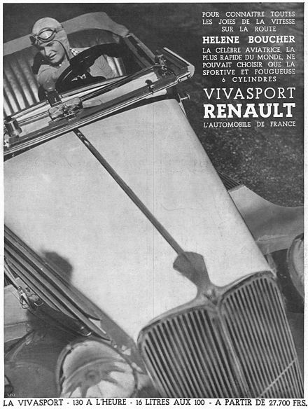 Renault Viva Grand Sport and Hélène Boucher. During the 1930s, Renault settled several speed world records with Caudron planes, thanks to its 6-cylinders engines and aerodynamic designs Renault Viva Boucher.jpg