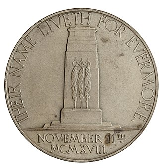The Cenotaph - The Cenotaph featured on the reverse of the 1928 Armistice Day memorial medal by Charles Doman.
