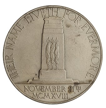 The Cenotaph featured on the reverse of the 1928 Armistice Day memorial medal by Charles Doman. Reverse of Armistice Day Memorial Medal 1928.jpg