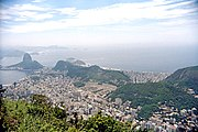 View from Corcovado: Sugarloaf Mountain, left; Copacabana beach, center