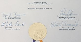 Mike Curb - Signatures from a resolution signed by Curb in his ceremonial role of President of the California State Senate