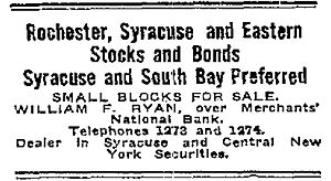 Rochester, Syracuse and Eastern Rapid Railroad - Rochester, Syracuse and Eastern Stocks and Bonds - June 1912 - Small blocks for sale by William F. Ryan at Merchants' National Bank