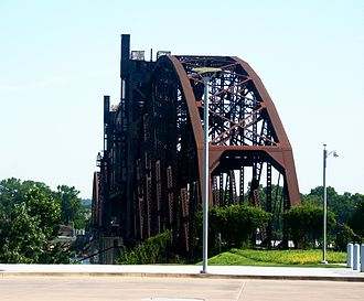 Clinton Presidential Center - The Rock Island Railroad Bridge (before restoration) is a now-defunct railroad bridge.