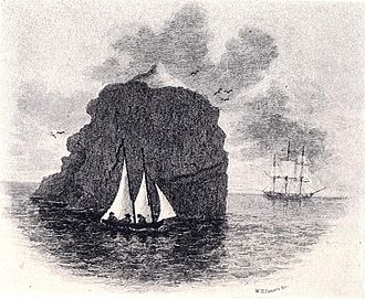 Rockall - An illustration depicting HMS Endymions landing party in their boat at Rockall, with the Endymion in the background.
