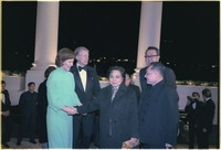 Rosalynn Carter and Jimmy Carter greet Madame Zhuo Lin and Deng Xiaoping at the White House for a state dinner in... - NARA - 183216.tif