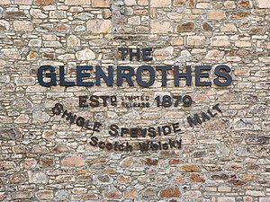 Letters on the Glenrothes distillery walls; Gl...