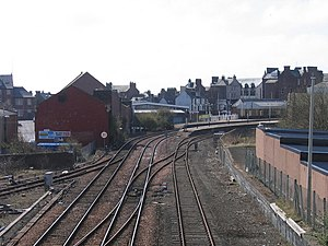 Arbroath and Forfar Railway - Image: Round the bend to Arbroath Station geograph.org.uk 1051692