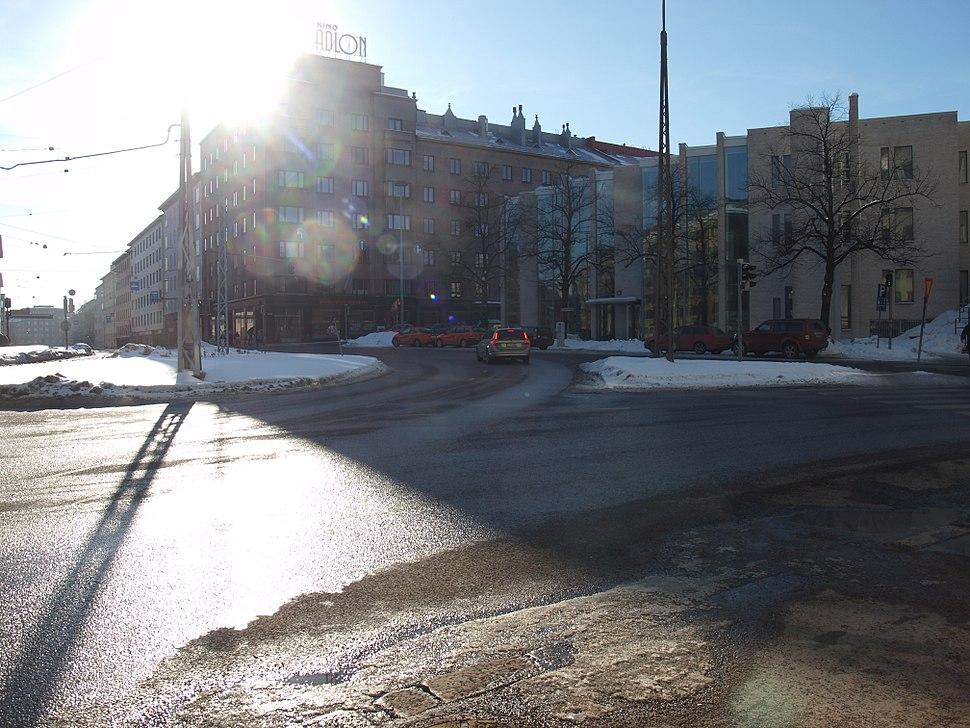 Runeberginkatu, Helsinki, in bright sunlight