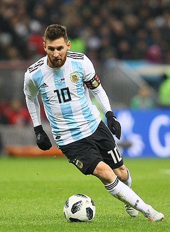 Lionel Messi, five times FIFA Ballon d'Or winner, is the current captain of the Argentina national football team. Rus-Arg 2017 (16).jpg