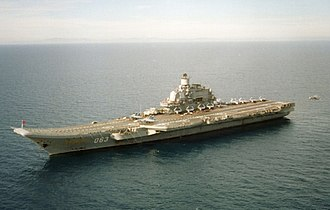 STOBAR - The Russian aircraft carrier Admiral Kuznetsov with a ski-jump takeoff ramp for STOBAR