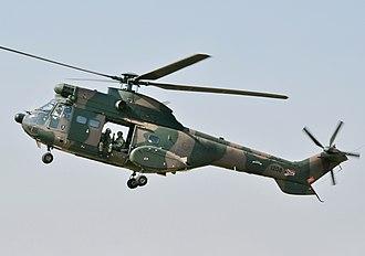 Atlas Oryx - A SAAF Atlas Oryx helicopter in flight.