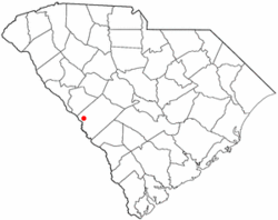 Location of Clearwater, South Carolina