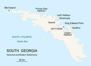 Map of South Georgia Island (Settlements) publ...