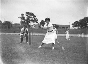 Vigoro - Vigoro players in action at the wicket, circa 1929