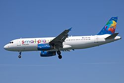 SP-HAB A320 Small Planet (7371448716).jpg