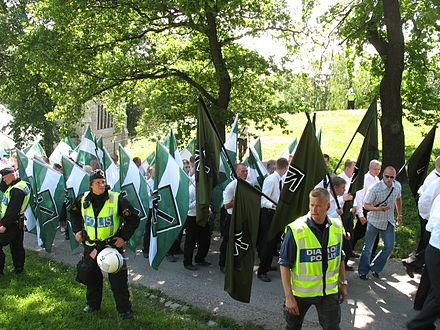 The Swedish Neo-Nazi Nordic Resistance Movement group marching through Stockholm, 2007 SRM demo1.jpg
