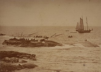 RMS Atlantic - Wreck of Atlantic during body and cargo recovery, April 1873