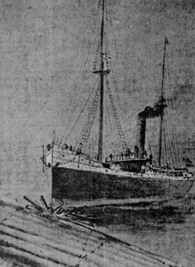 An illustration of the Columbia colliding with a log raft on the Columbia River on February 1, 1906.
