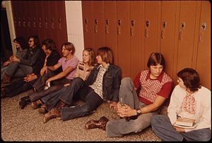 New Ulm High School - Students resting in a hall, 1974