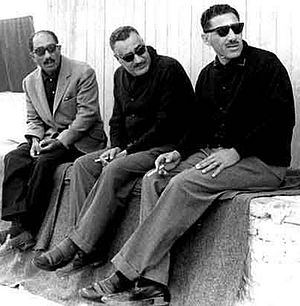 Abdel Hakim Amer - Amer (right) with President Gamal Abdel Nasser (center) and Speaker of Parliament Anwar Sadat (left), 1965
