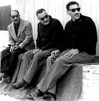 Abdel Hakim Amer - Amer (right) with President Gamal Abdel Nasser (center) and Speaker of Parliament Anwar Sadat (left), 1965