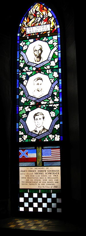 Freedom Summer - A stained glass window honoring the three slain activists in Sage Chapel, Cornell University.