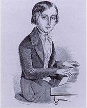 bosquejo, de, niño joven, en, piano, teclado