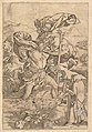Saint Christopher crossing the river with Christ in the form of a putto on his shoulders and a hermit in the foreground, after Dürer MET DP820346.jpg