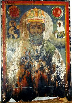 Saint Nicholas Icon from Saint Nicholas Church in Ptelea Grache, before 1820.jpg