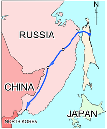 Location of Sakhalin–Khabarovsk–Vladivostok pipeline
