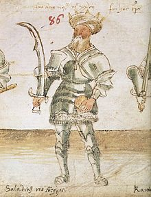 """Saladin Rex Aegypti"" - a fifteenth century portrait of Saladin as a knight in armor waering a turban."