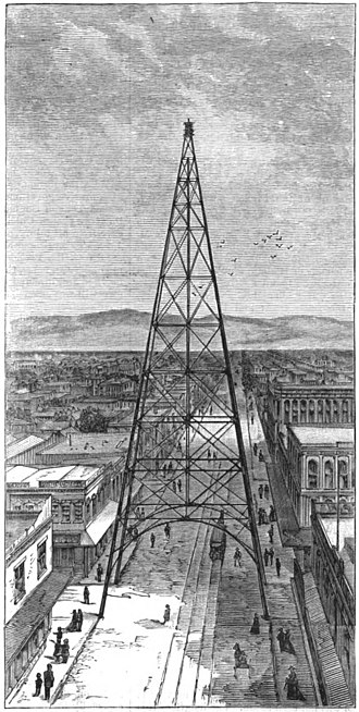 San Jose electric light tower - Illustration by H.G. Peelor from Dec 10, 1881 article in Harper's Weekly