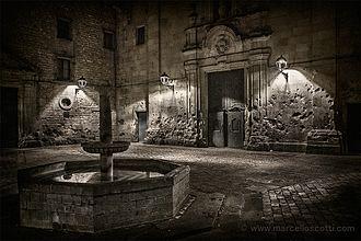 Plaça de Sant Felip Neri - The church of the Saint Philip Neri and fountain at night