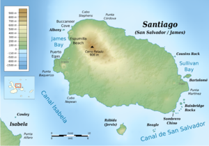 Santiago Island (Galápagos) - Topographic map