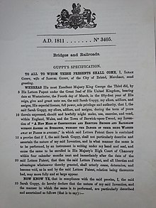 First page of Sarah Guppy's bridge patent of 1811