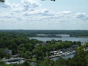 Saugatuck, Michigan - View of downtown Saugatuck and the Kalamazoo River from atop Mt. Baldhead