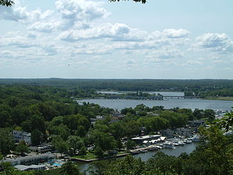 Saugatuck, Michigan - View of downtown Saugatuck and the Kalamazoo River from atop Mt. Baldhead