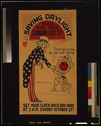 Daylight saving time in the United States - Poster for the end of daylight saving time in 1918