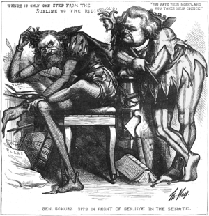 James W. Nye - Carl Schurz and his Senate neighbor, James Nye, in a political cartoon from Harper's Weekly