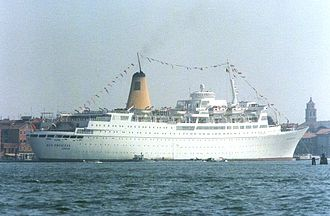 Eleanor Hibbert - Eleanor Hibbert died aboard the cruise ship Sea Princess in 1993. (The ship is seen here in 1986 at Venice).