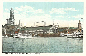 Seattle - Grand Trunk Pacific and Colman Docks, circa 1920.jpg