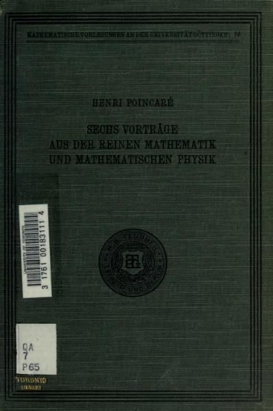 File:Sechs Vorträge aus der reinen Mathematik und mathematischen Physik.djvu